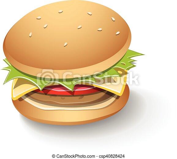 hamburger, smakelijk, spotprent - csp40828424