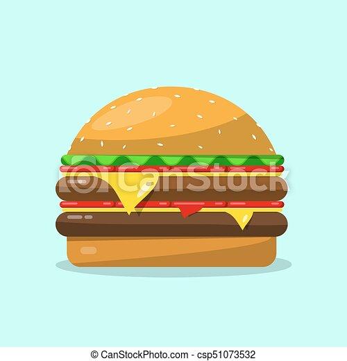 Hamburger. Vector Flat Design Food Icon. - csp51073532