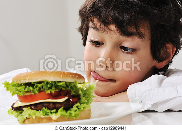 hamburger, versuchung, junge - csp12989441