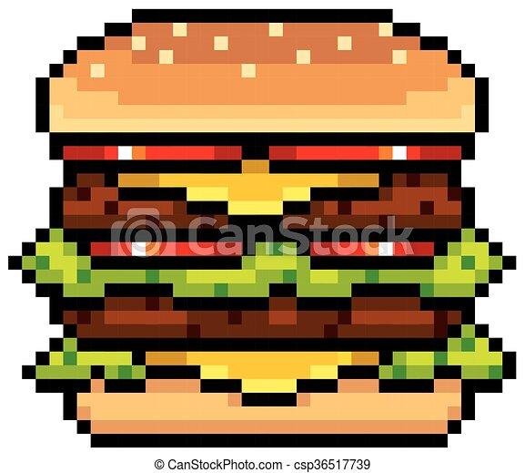 Ilustracja Hamburger Wektor Projektować Pixel
