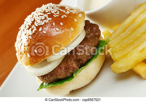 Hamburger with french fries - csp9567521