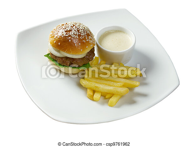 Hamburger with french fries - csp9761962