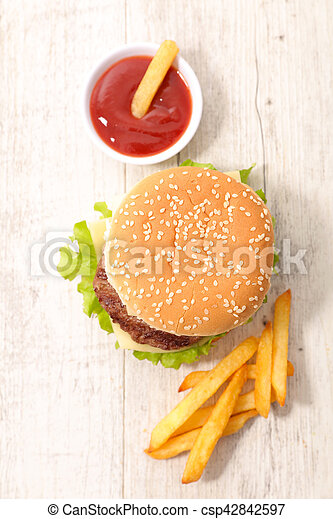 hamburger with french fries - csp42842597