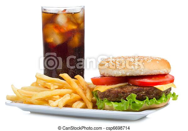 hamburger with fries and cola - csp6698714