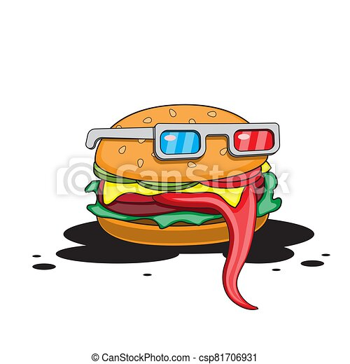 Hamburger with glasses on a white isolated background. Vector image - csp81706931
