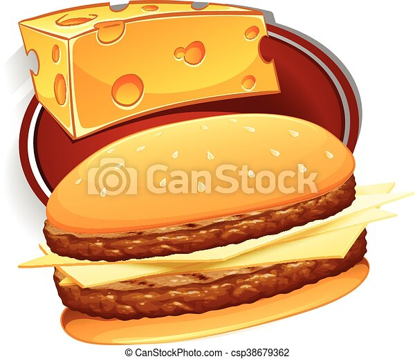 hamburger with meat and cheese illustration