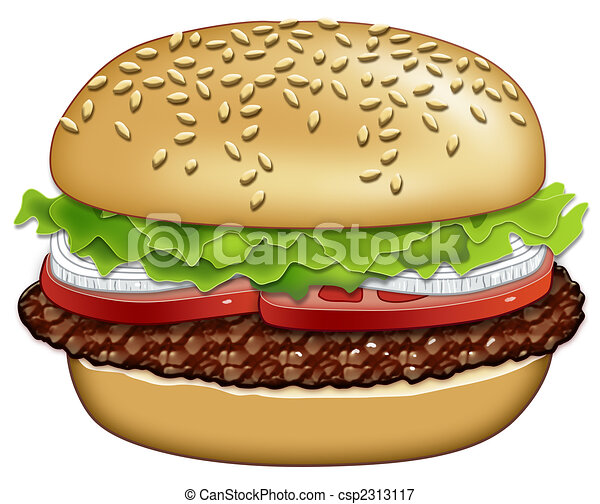 hamburger with the works illustration