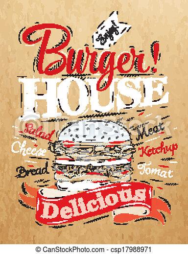 hamburguesa, casa, cartel - csp17988971
