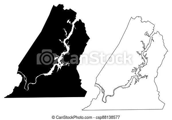 Hamilton County, State of Tennessee (U.S. county, United States of America, USA, U.S., US) map vector illustration, scribble sketch Hamilton map - csp88138577