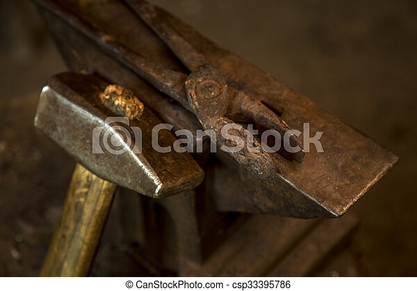 Hammer and anvil - csp33395786