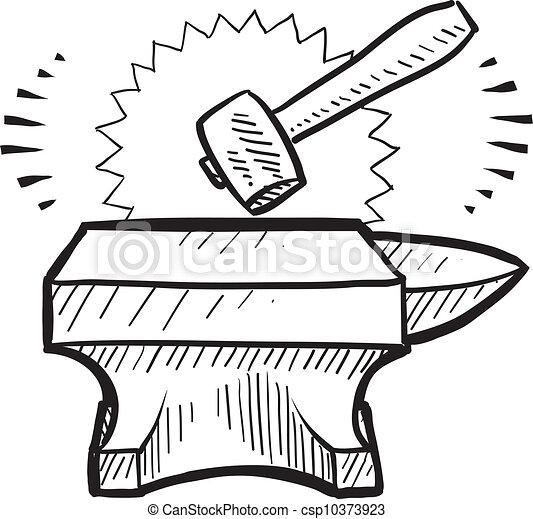 Hammer and anvil sketch - csp10373923