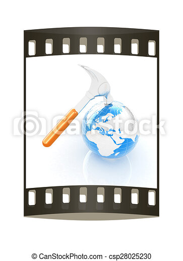 Hammer and earth on white background . The film strip - csp28025230