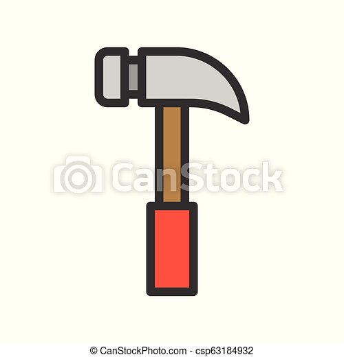 Hammer, handyman tool filled outline vector icon - csp63184932