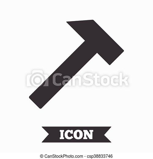 Hammer Sign Icon Repair Service Symbol Graphic Design Element