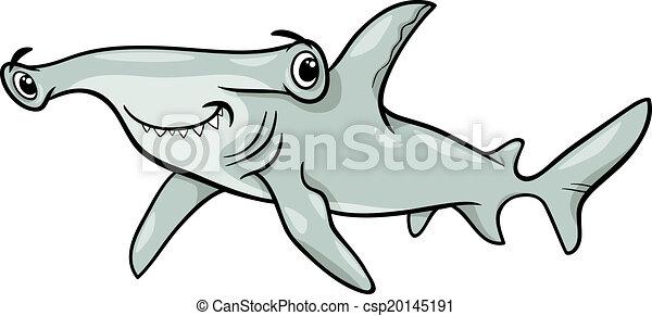 hammerhead shark cartoon illustration cartoon illustration eps rh canstockphoto com Hammerhead Shark Silhouette Clip Art hammerhead shark clipart