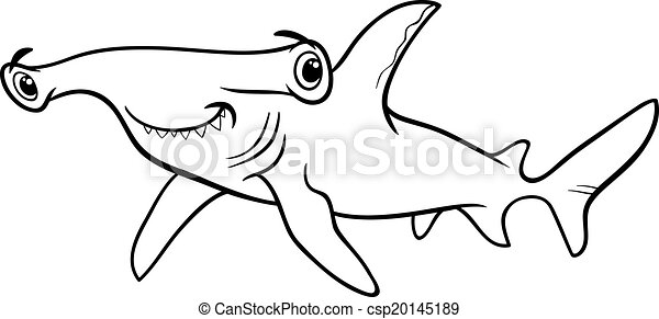 vector hammerhead shark coloring book