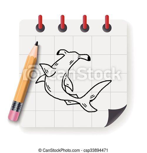Hammerhead shark doodle - csp33894471