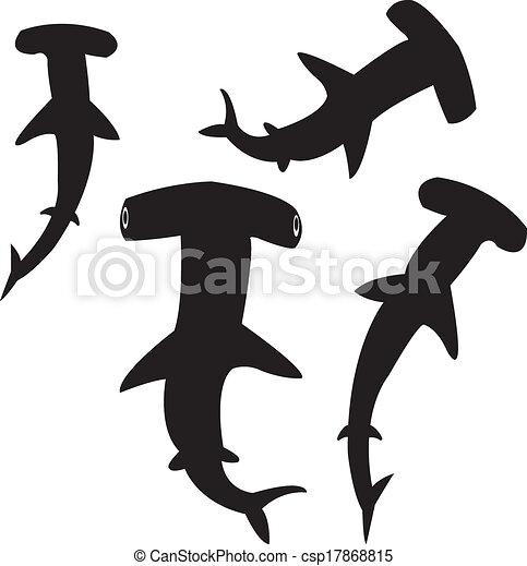 hammerhead shark silhouettes vector