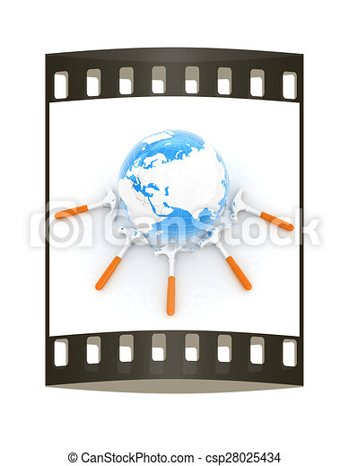 Hammers and earth. The film strip - csp28025434