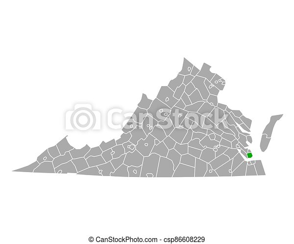 hampton, mapa de virginia - csp86608229