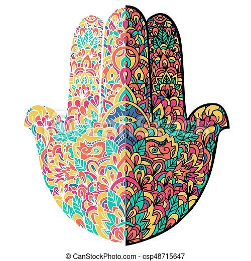 Hamsa Hand Drawn Symbol Fatimas Pattern Vector Illustration Indian Mandala Ornament For