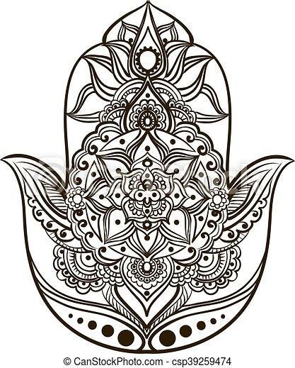 Hamsa Line Art Drawing Of A Hand Fatima