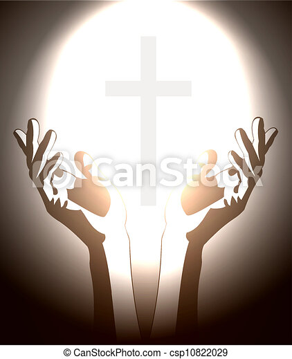hand and christian cross silhouette - csp10822029