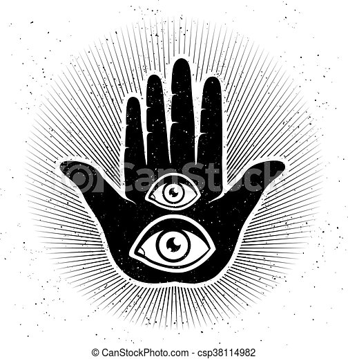 Hand And Eyes Vintage Vector Illustration Of Hand And Eyes