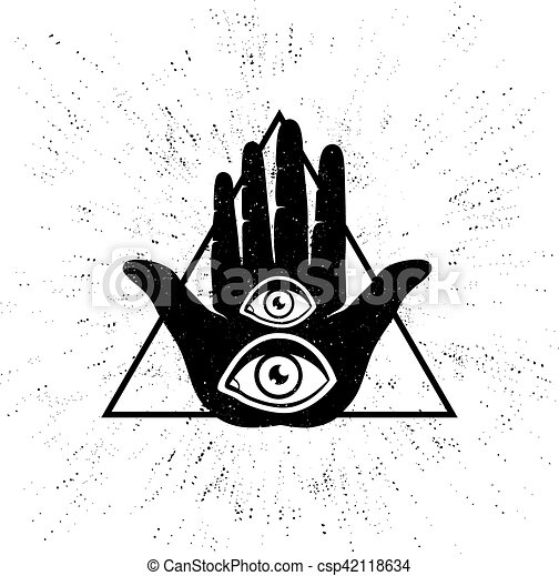 Vintage Vector Illustration Of Hand And Eyes Hand And Two Eyes