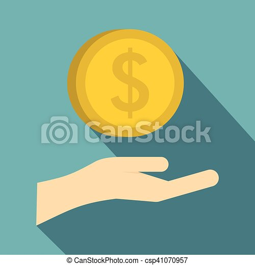 Hand and gold dollar coin icon, flat style - csp41070957