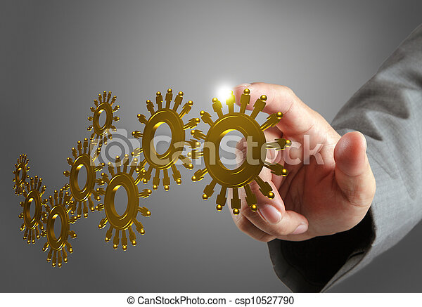 hand and gold people cogs as concept - csp10527790