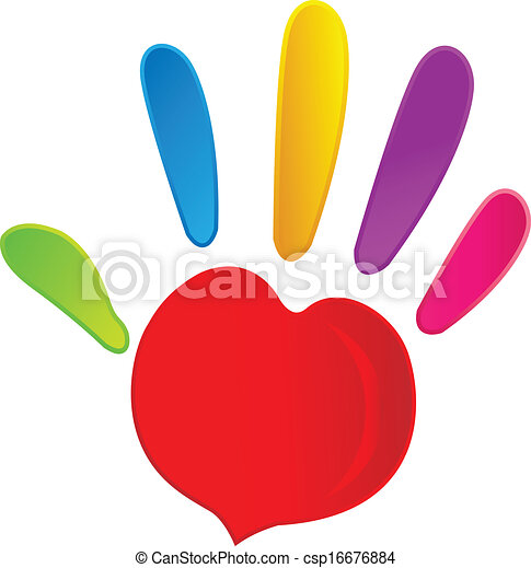 Hand and heart in vivid colors logo - csp16676884
