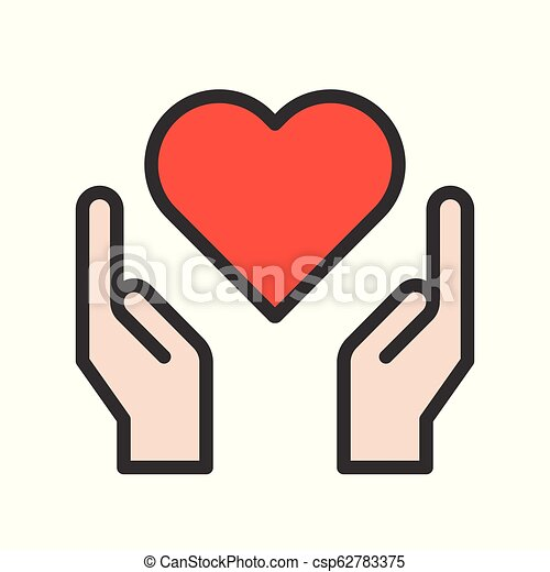Hand and heart vector, healthcare icon set - csp62783375