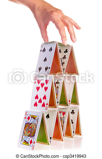 Hand and house of cards - csp3419943