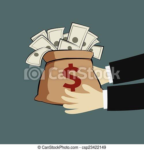 Hand and money bag - csp23422149