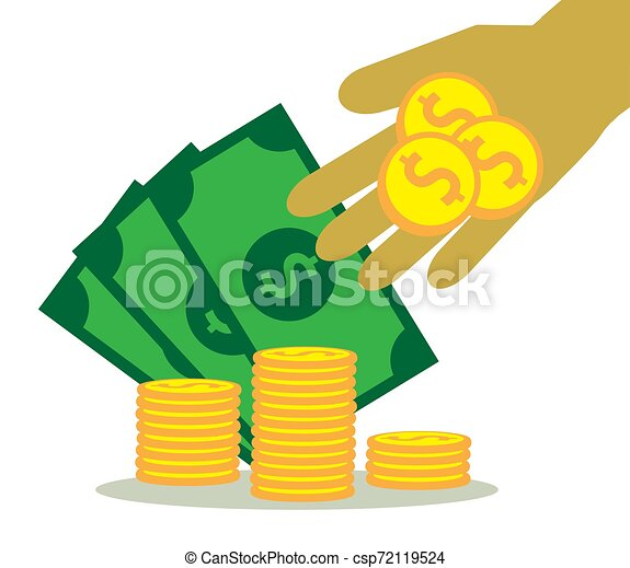 Hand and money on a white background. Accumulation. - csp72119524
