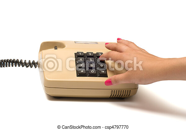 Hand and telephone. - csp4797770