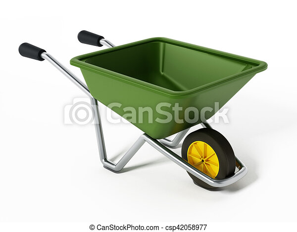 Hand barrow isolated on white background. 3D illustration - csp42058977