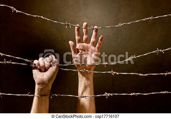 hand behind barbed wire - csp17716107