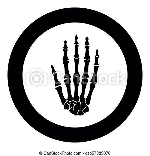 Hand bone icon black color vector illustration simple image - csp57385076