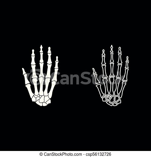 Hand bone icon set white color illustration flat style simple image - csp56132726