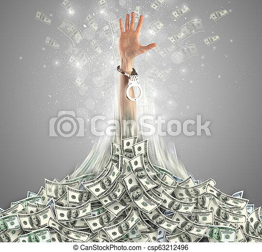 Hand bursting out from a money heap - csp63212496