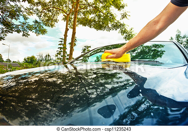 hand car wash in the sunny day - csp11235243