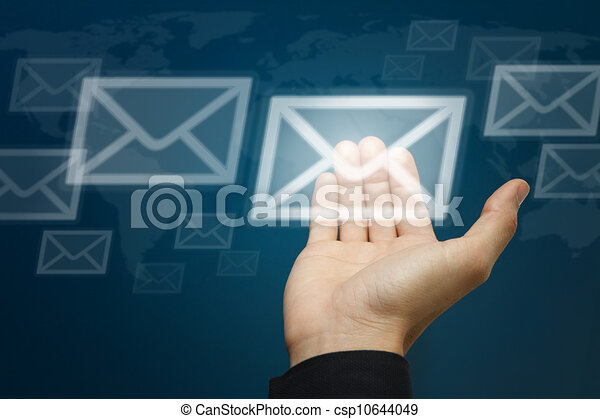 Hand carry the letter icon, Email concept - csp10644049