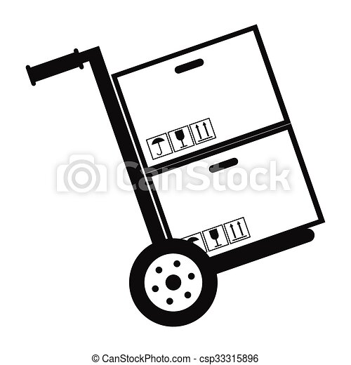 Hand cart with cardboard boxes black simple icon - csp33315896