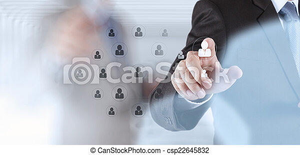 hand choosing people icon as human resources concept  - csp22645832