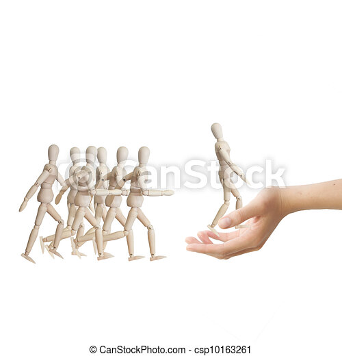 Hand choosing the perfect candidate for the job. Human resource concept - csp10163261