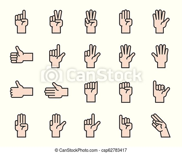 Hand counting and hand gesture icon such as like, love, fist, filled outline icon - csp62783417