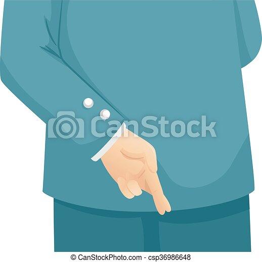 Hand Cross Finger Man - csp36986648