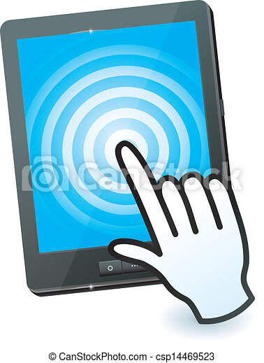 hand cursor and tablet pc with touchscreen - csp14469523